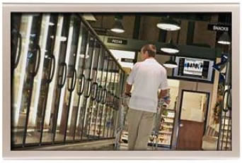 Multiple screen placements within each location engage the consumer's attention while within the aisles.